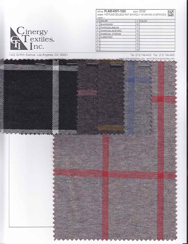 <h2>PLAID-KNIT-1555</h2> / FAMILY          / Y/D Plaid Double Knit 84%Poly 13%Rayon 3%Spandex