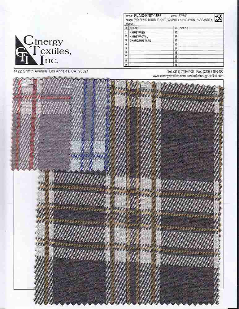 <h2>PLAID-KNIT-1556</h2> / FAMILY          / Y/D Plaid Double Knit 84%Poly 13%Rayon 3%Spandex