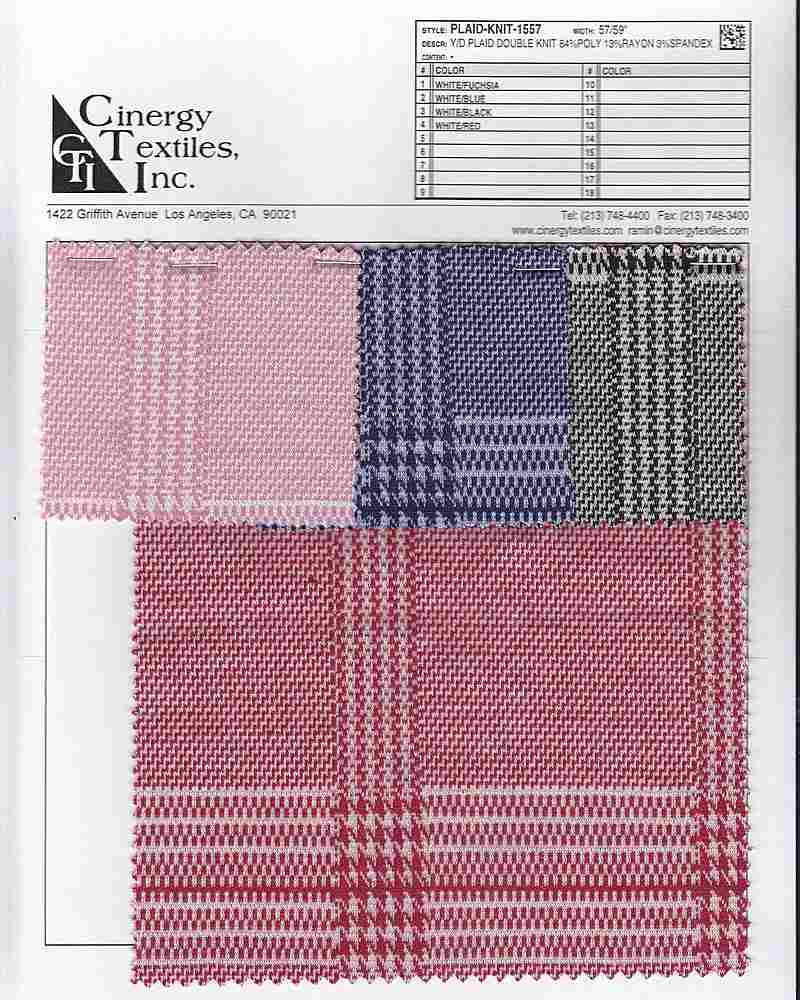 <h2>PLAID-KNIT-1557</h2> / FAMILY          / Y/D Plaid Double Knit 84%Poly 13%Rayon 3%Spandex