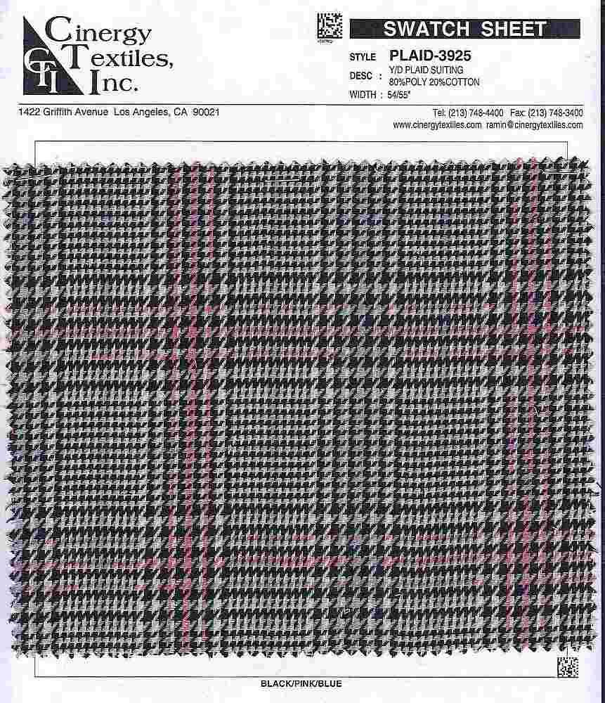 <h2>PLAID-3925</h2> / FAMILY          / Y/D Plaid Suiting 80%Poly 20%Cotton