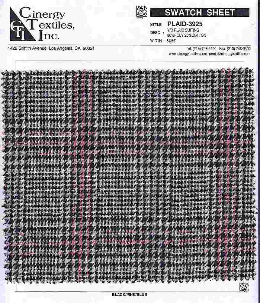PLAID-3925 / Y/D Plaid Suiting 80%Poly 20%Cotton
