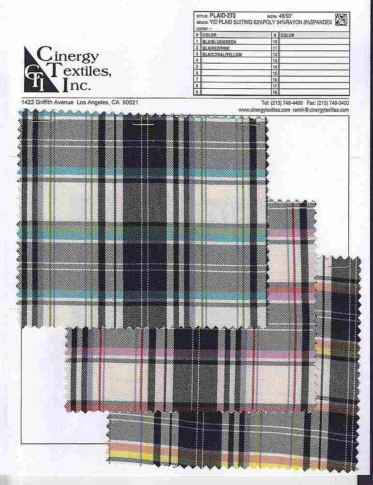 <h2>PLAID-273</h2> / FAMILY          / Y/D Plaid Suiting 63%Poly 34%Rayon 3%Spandex