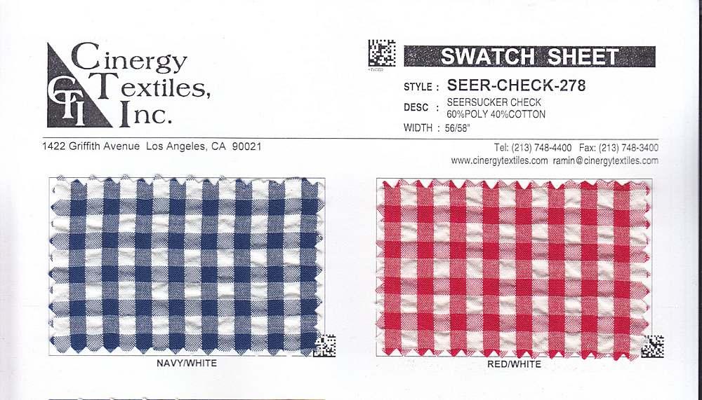 SEER-CHECK-278 / Seersucker Check 60%Poly 40%Cotton
