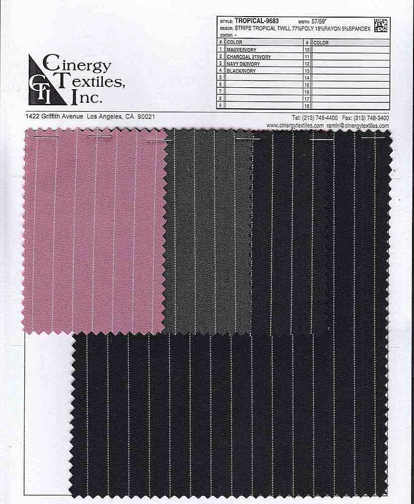 TROPICAL-9683 / Stripe Tropical Twill 77%Poly 18%Rayon 5%Spandex