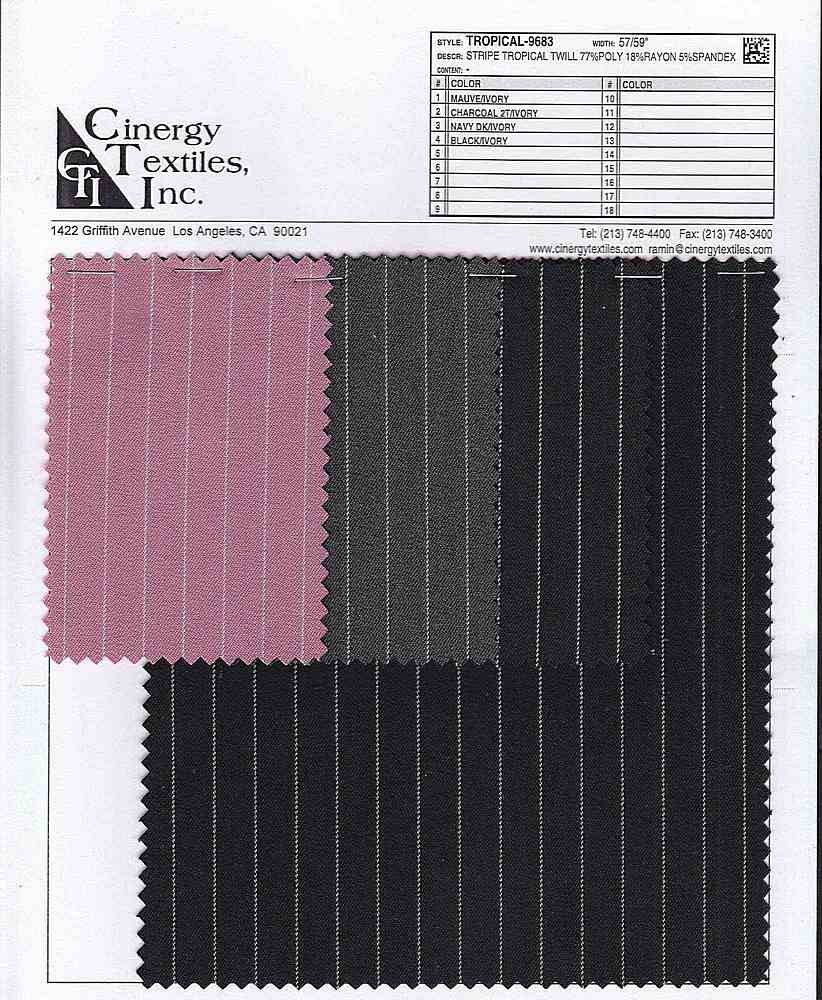 <h2>TROPICAL-9683</h2> / FAMILY          / Stripe Tropical Twill 77%Poly 18%Rayon 5%Spandex