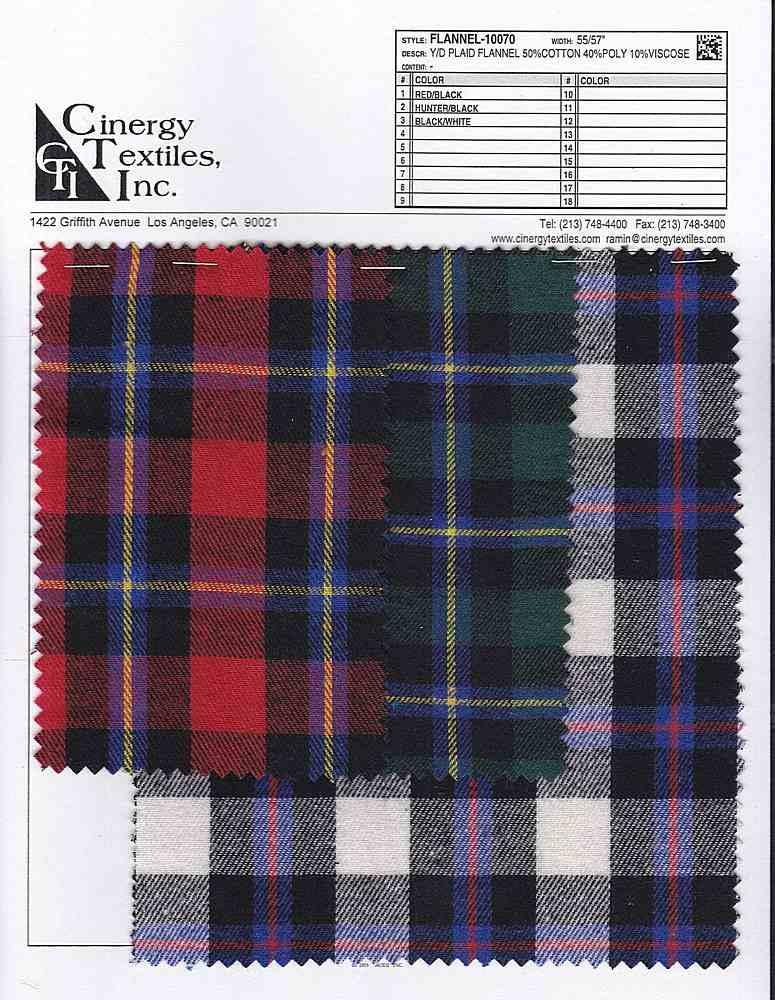 FLANNEL-10070 / Y/D Plaid Flannel 50%Cotton 40%Poly 10%Viscose