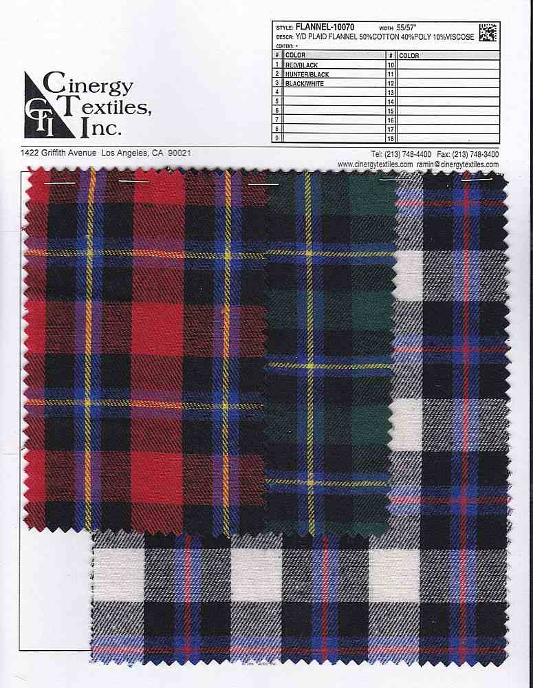 <h2>FLANNEL-10070</h2> / FAMILY          / Y/D Plaid Flannel 50%Cotton 40%Poly 10%Viscose