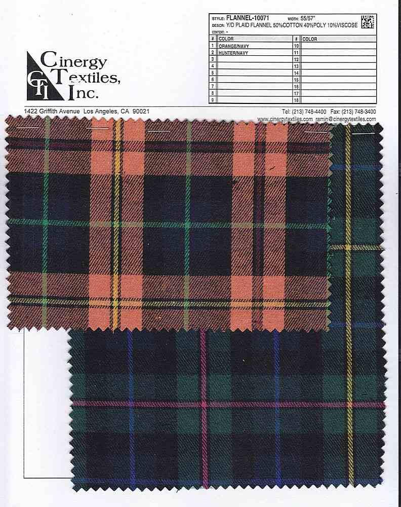 FLANNEL-10071 / Y/D Plaid Flannel 50%Cotton 40%Poly 10%Viscose
