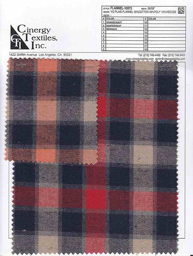 <h2>FLANNEL-10072</h2> / FAMILY          / Y/D Plaid Flannel 50%Cotton 40%Poly 10%Viscose