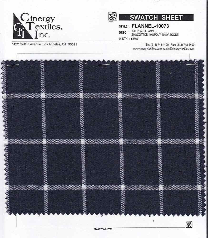 FLANNEL-10073 / Y/D Plaid Flannel 50%Cotton 40%Poly 10%Viscose
