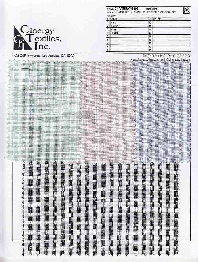 <h2>CHAMBRAY-9992</h2> / FAMILY          / Chambray Slub Stripe 80%Poly 20%Cotton