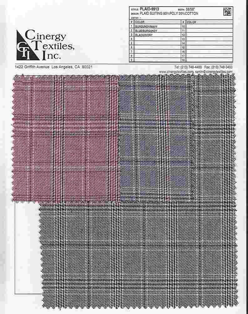 PLAID-9913 / Plaid Suiting 80%Poly 20%Cotton