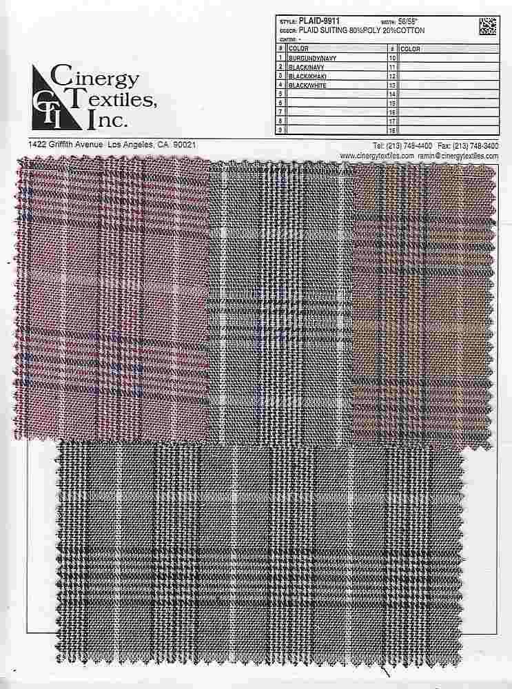 PLAID-9911 / Plaid Suiting 80%Poly 20%Cotton