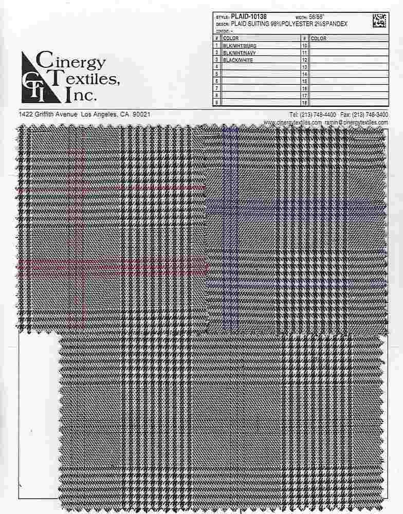 PLAID-10138 / Plaid Suiting 98%Polyester 2%Spandex