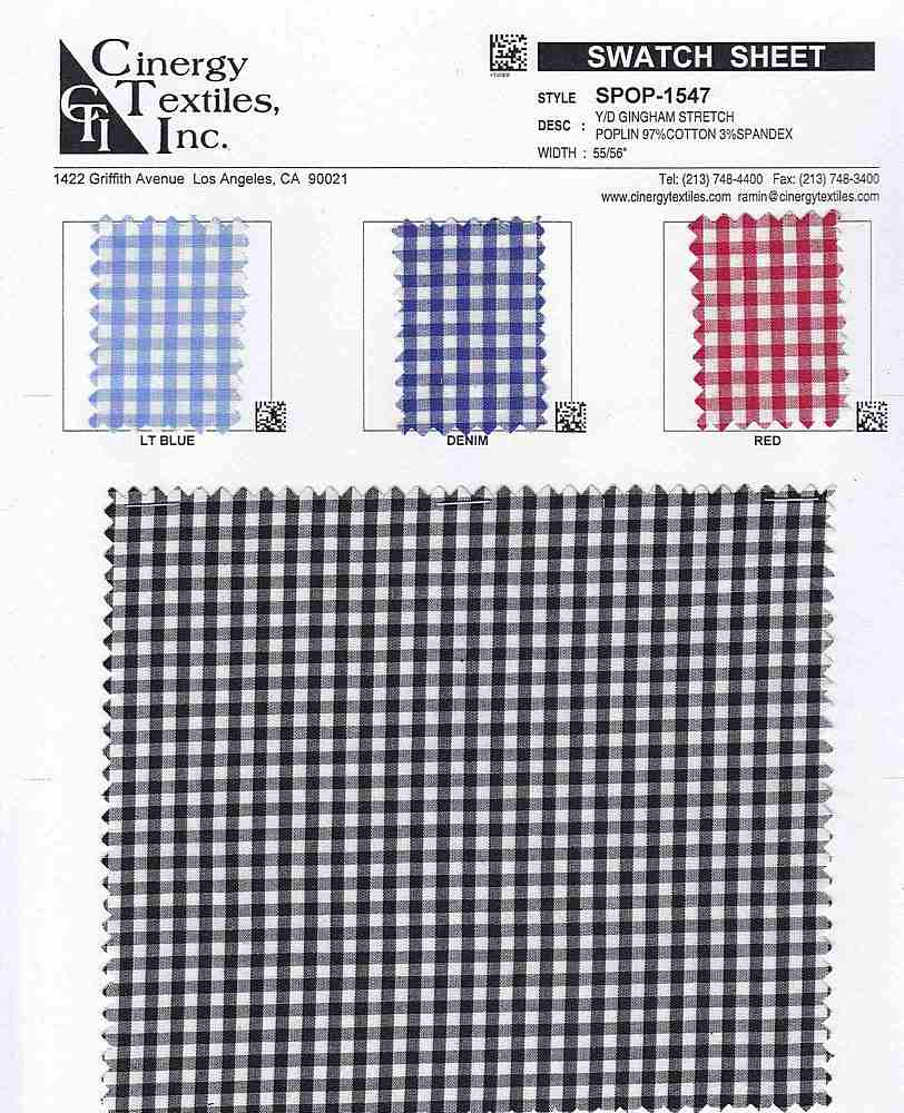 SPOP-1547 / Y/D Gingham Stretch Poplin 97%Cotton 3%Spandex
