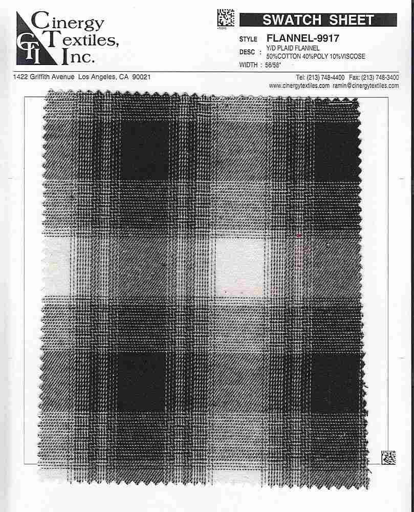 <h2>FLANNEL-9917</h2> / FAMILY          / Y/D Plaid Flannel 50%Cotton 40%Poly 10%Viscose
