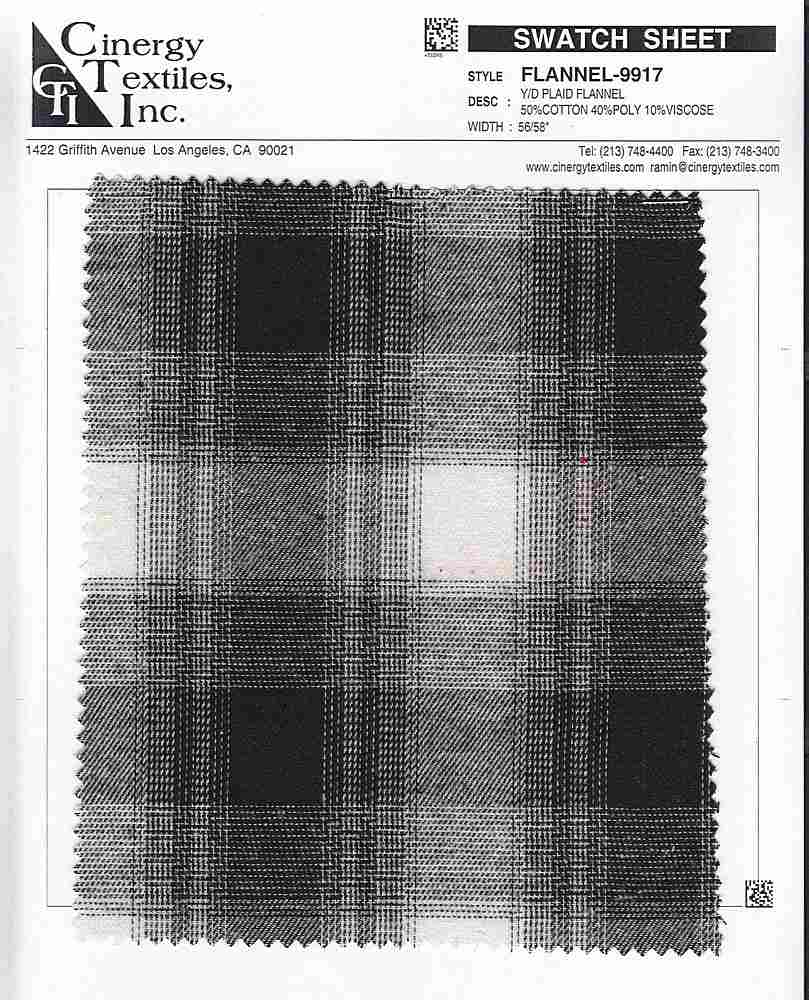 FLANNEL-9917 / Y/D Plaid Flannel 50%Cotton 40%Poly 10%Viscose