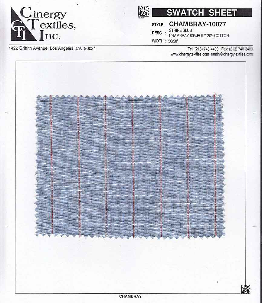 <h2>CHAMBRAY-10077</h2> / FAMILY          / Stripe Slub Chambray 80%Poly 20%Cotton