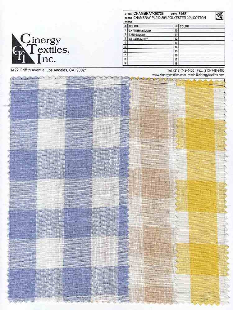 <h2>CHAMBRAY-20735</h2> / FAMILY          / Chambray Plaid 80%Polyester 20%Cotton