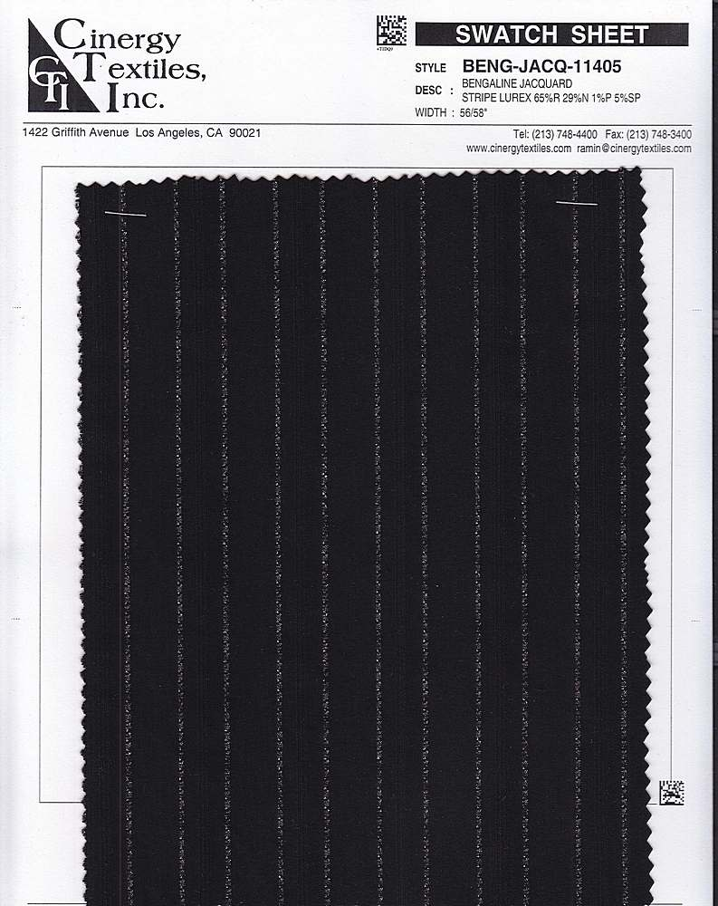 BENG-JACQ-11405 / Bengaline Jacquard Stripe Lurex 65%R 29%N 1%P 5%SP