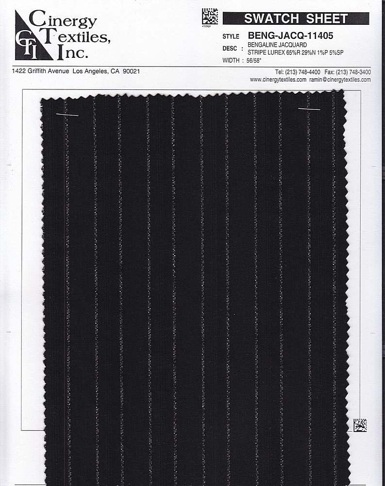 <h2>BENG-JACQ-11405</h2> / FAMILY          / Bengaline Jacquard Stripe Lurex 65%R 29%N 1%P 5%SP