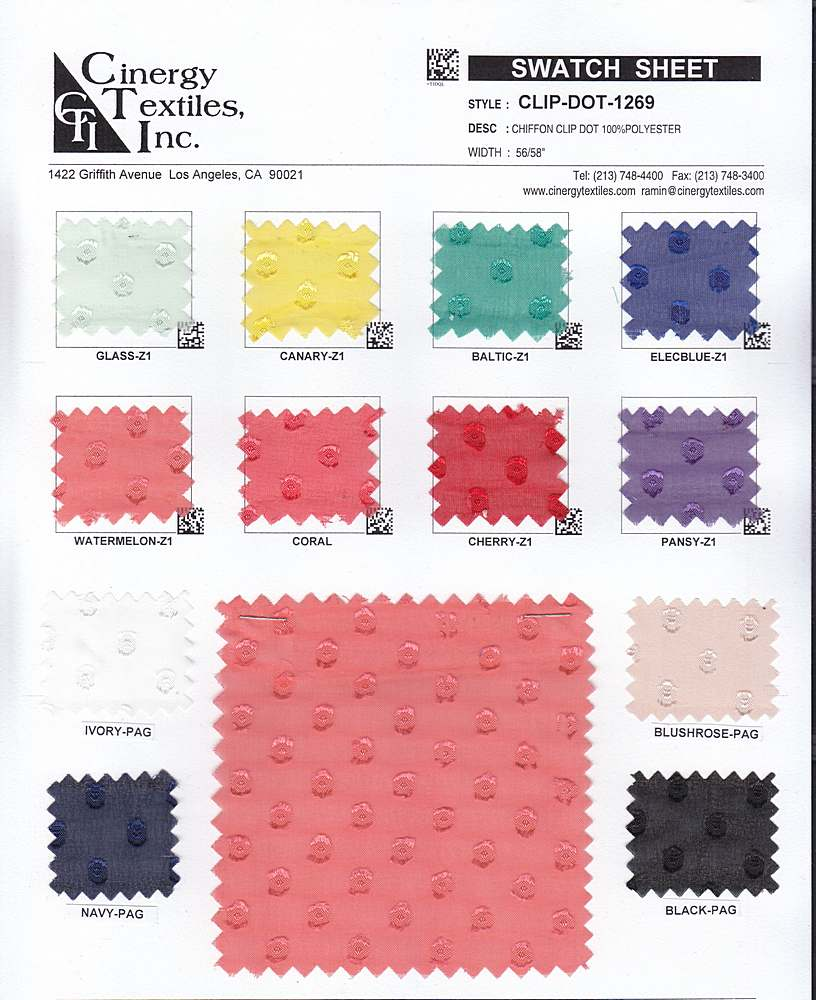 CLIP-DOT-1269 / Chiffon Clip Dot 100%Polyester