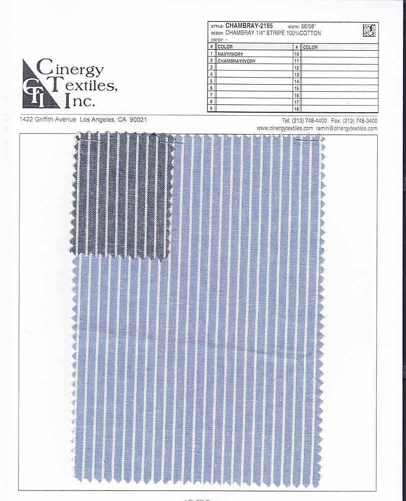 <h2>CHAMBRAY-2195</h2> / FAMILY          / Chambray 1/4&quot; Stripe 100%Cotton