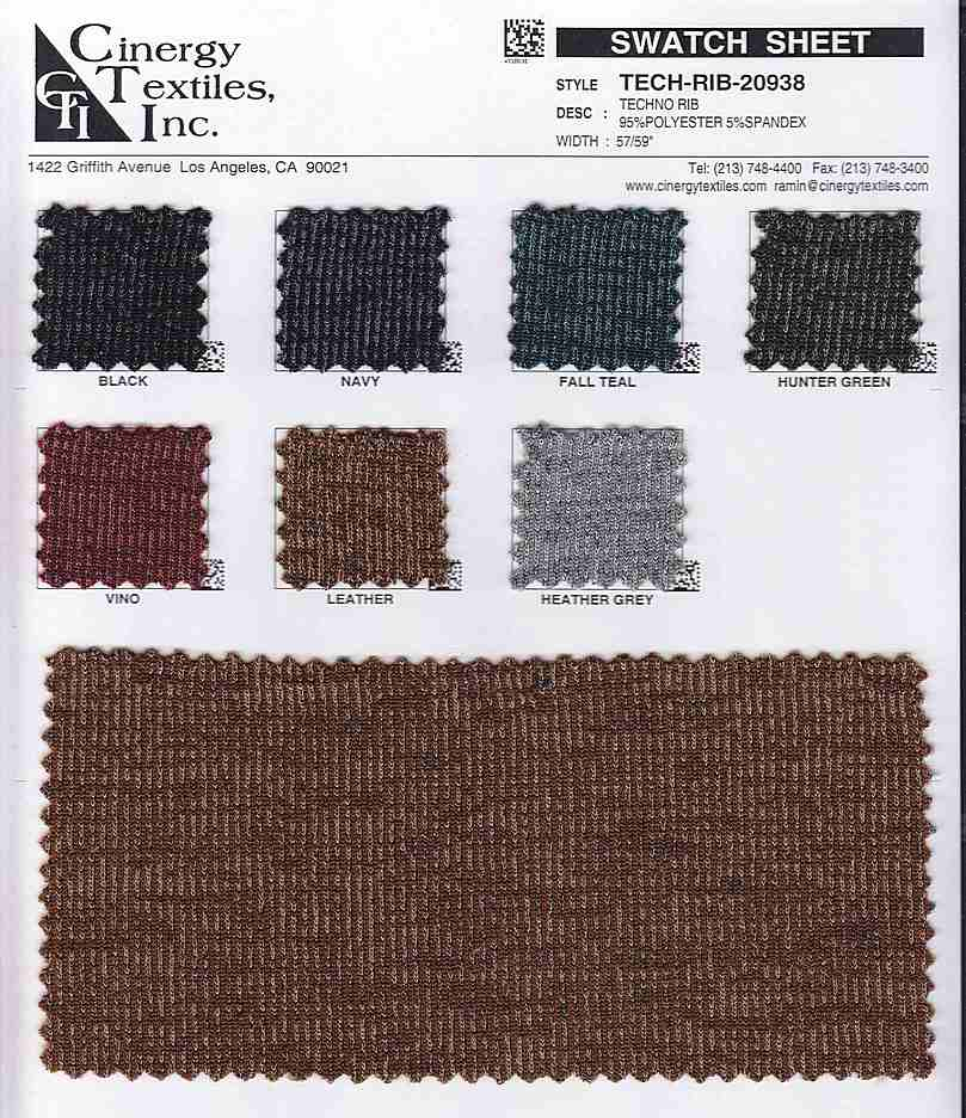 <h2>TECH-RIB-20938</h2> / FAMILY          / Techno Rib 95%Polyester 5%Spandex