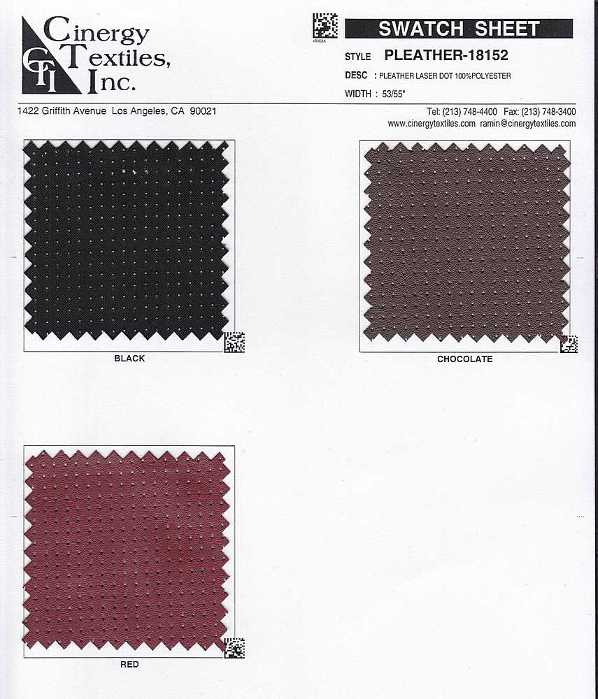 <h2>PLEATHER-18152</h2> / FAMILY          / Pleather Laser Dot 100%Polyester