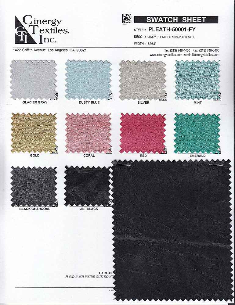 <h2>PLEATH-50001-FY</h2> / FAMILY          / Fancy Pleather 100%Polyester