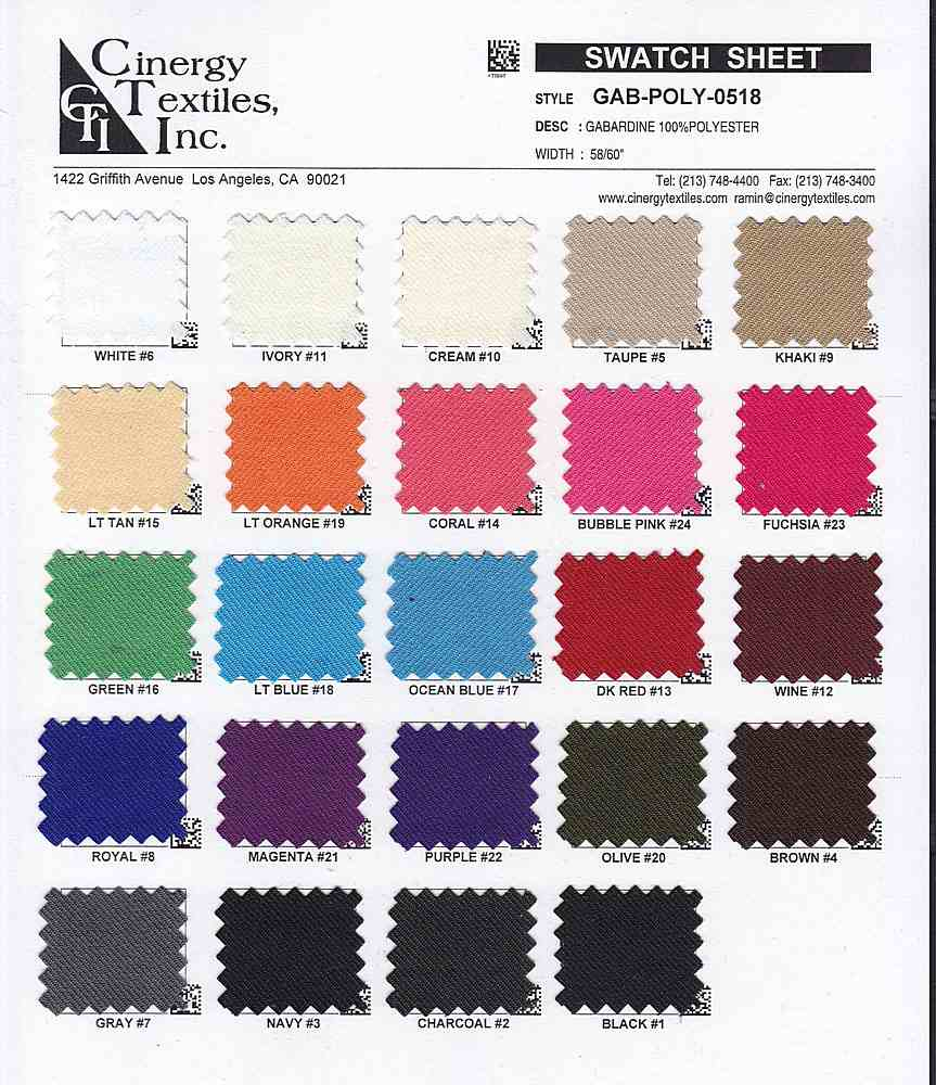 GAB-POLY-0518 / Gabardine 100%Polyester
