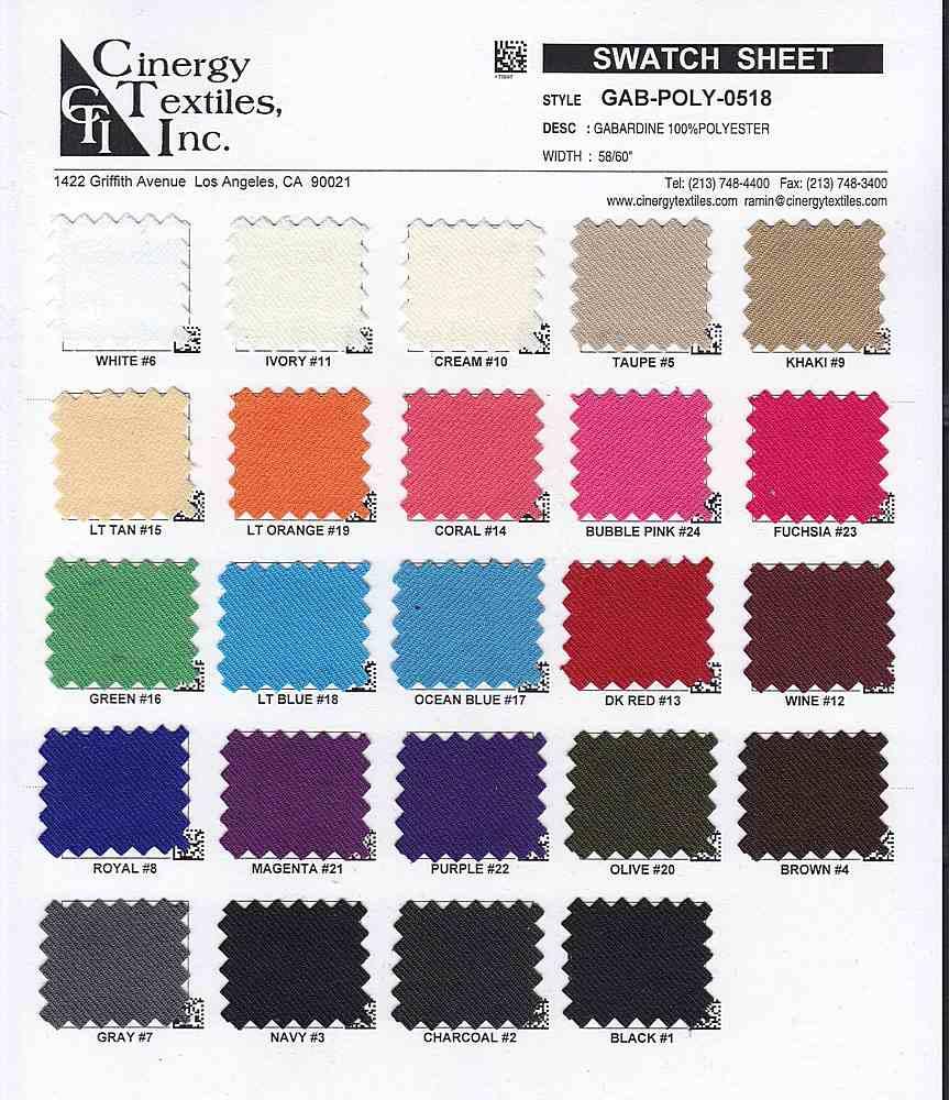<h2>GAB-POLY-0518</h2> / FAMILY          / Gabardine 100%Polyester