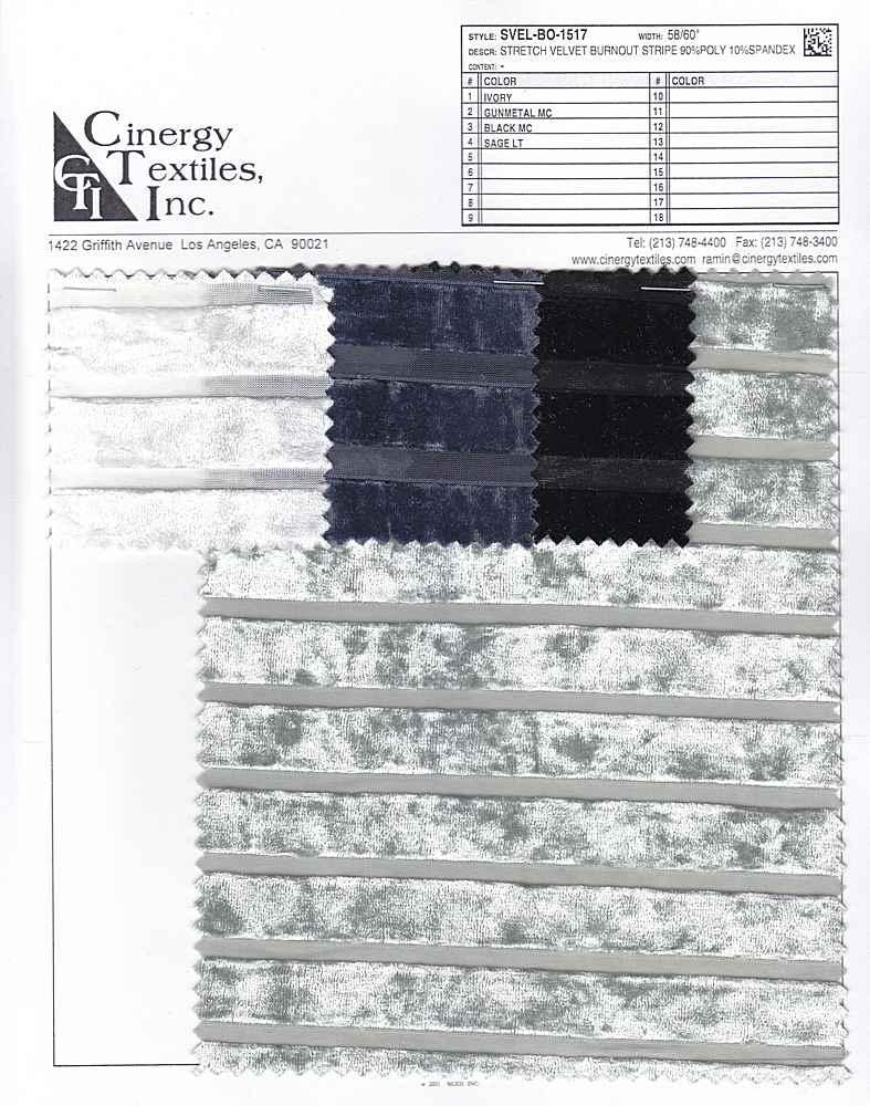 SVEL-BO-1517 / Stretch Velvet Burnout Stripe 90%Poly 10%Spandex