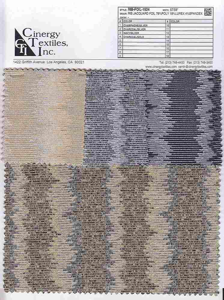 <h2>RIB-FOIL-1524</h2> / FAMILY          / Rib Jacquard Foil 78%Poly 18%Lurex 4%Spandex