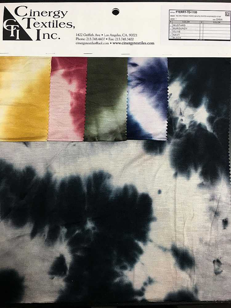 <h2>FTERRY-TD-1100</h2> / FAMILY          / Tie Dye French Terry 96%Rayon 4%Spandex