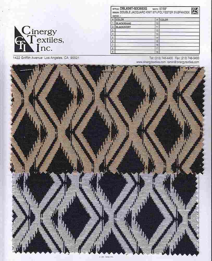 <h2>DBLKNIT-MX3693G</h2> / FAMILY          / Double Jacquard Knit 97%Polyester 3%Spandex