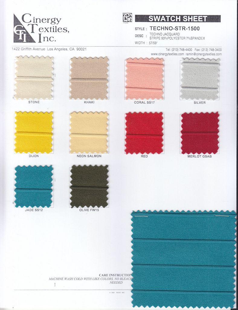 <h2>TECHNO-STR-1500</h2> / FAMILY          / Techno Jacquard Stripe 93%Polyester 7%Spandex