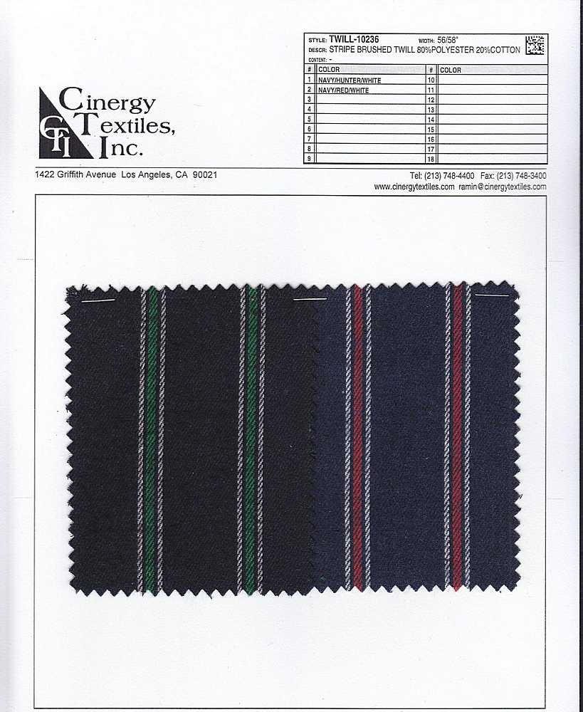 <h2>TWILL-10236</h2> / FAMILY          / Stripe Brushed Twill 80%Polyester 20%Cotton