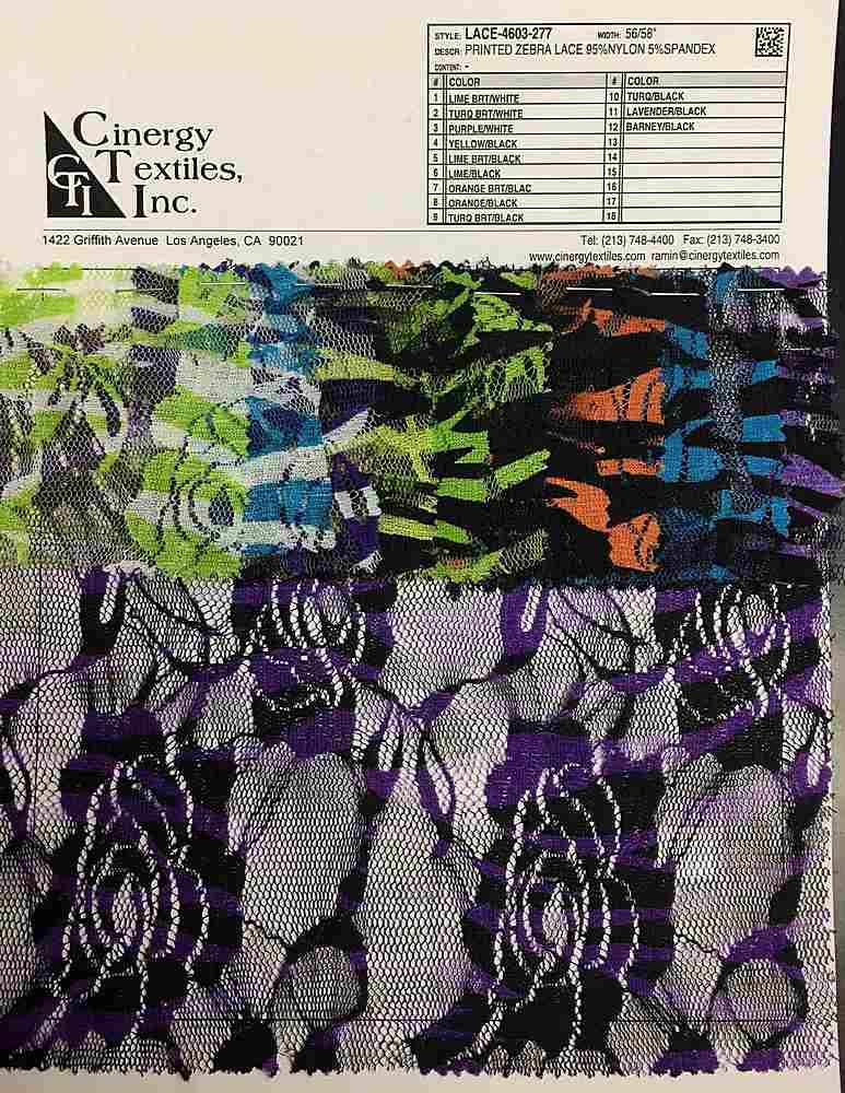 <h2>LACE-4603-277</h2> / FAMILY          / Printed Zebra Lace 95%Nylon 5%Spandex