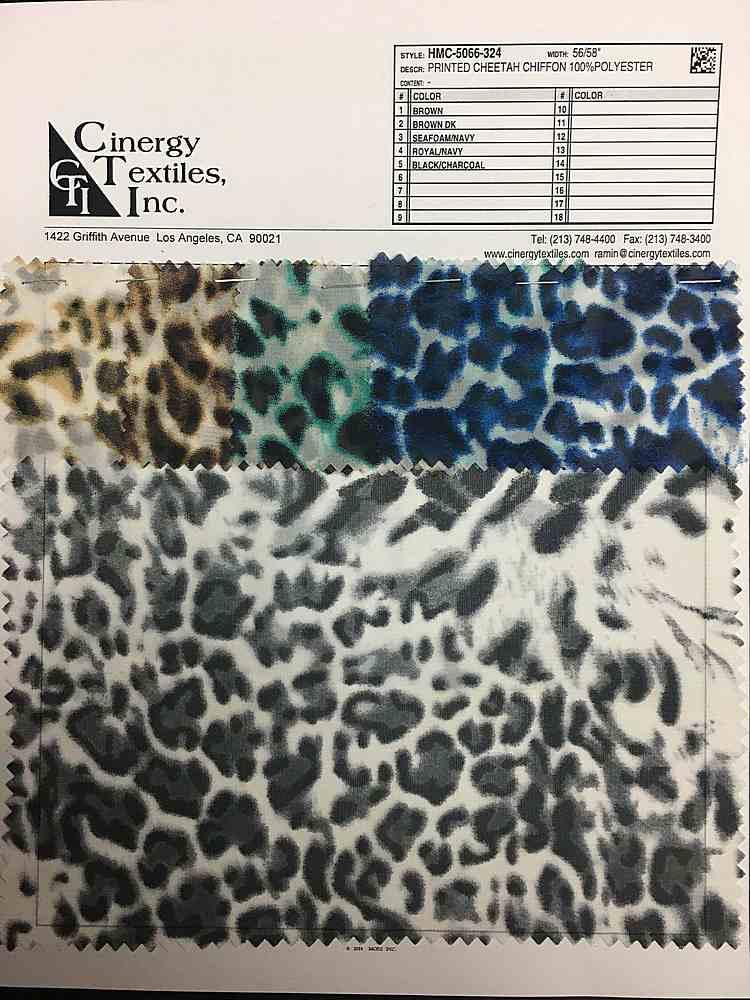 <h2>HMC-5066-324</h2> / FAMILY          / Printed Cheetah Chiffon 100%Polyester