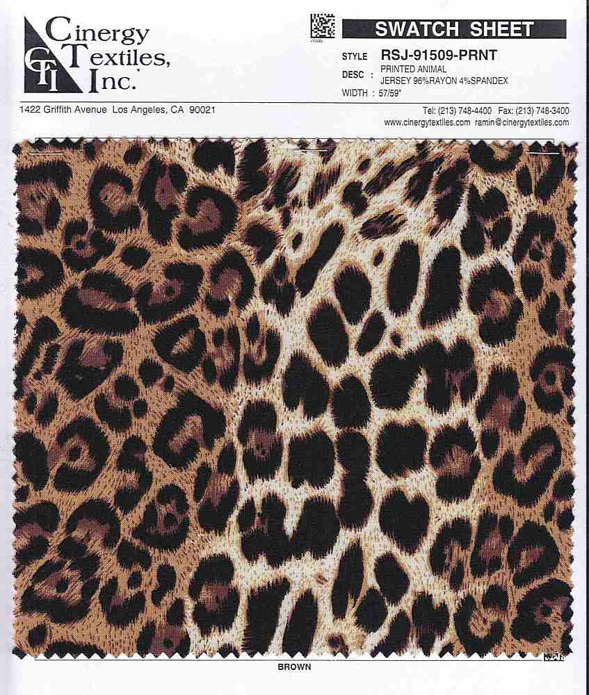 RSJ-91509-PRNT / Printed Animal Jersey 96%Rayon 4%Spandex