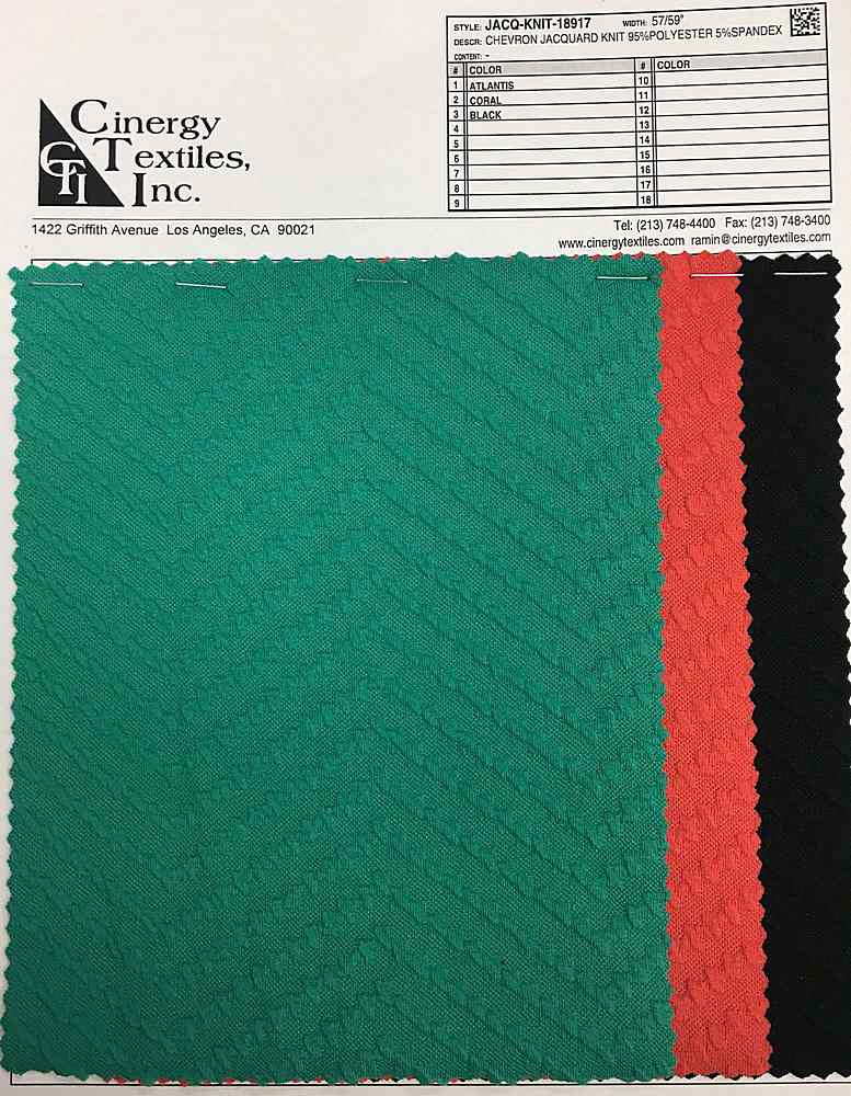 <h2>JACQ-KNIT-18917</h2> / FAMILY          / Chevron Jacquard Knit 95%Polyester 5%Spandex