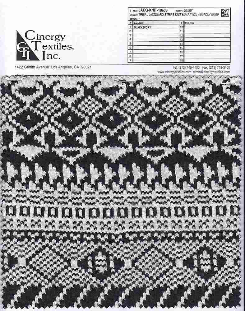 JACQ-KNIT-18638 / Tribal Jacquard Stripe Knit 50%Rayon 45%Poly 5%SP