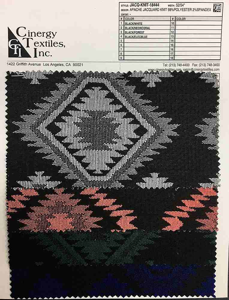 <h2>JACQ-KNIT-18444</h2> / FAMILY          / Apache Jacquard Knit 98%Polyester 2%Spandex