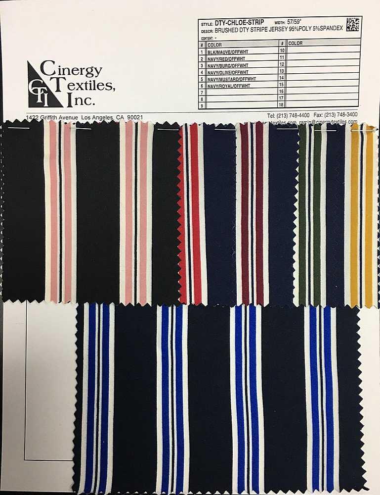 <h2>DTY-CHLOE-STRIP</h2> / FAMILY          / Brushed DTY Stripe Jersey 95%Poly 5%Spandex