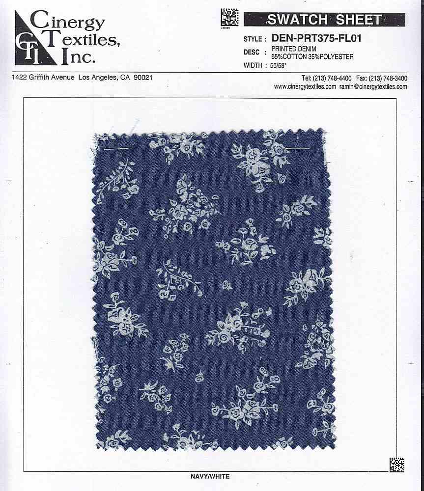 DEN-PRT375-FL01 / Printed Denim 65%Cotton 35%Polyester