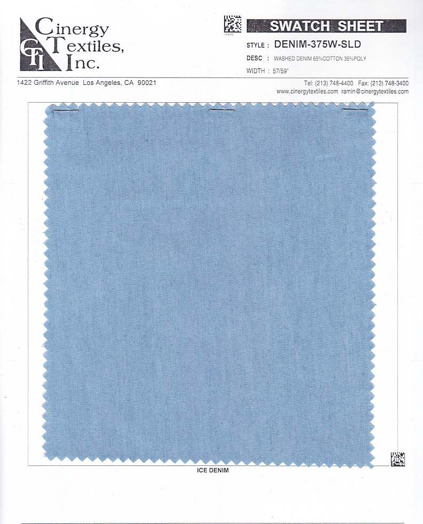 DENIM-375W-SLD / Washed Denim 65%Cotton 35%Poly