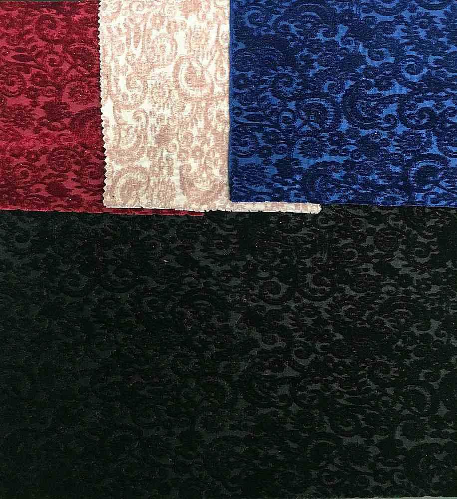 <h2>VELVET-EMB-9754</h2> / FAMILY          / Embossed Stretch Velvet 95%Poly 5%Spandex