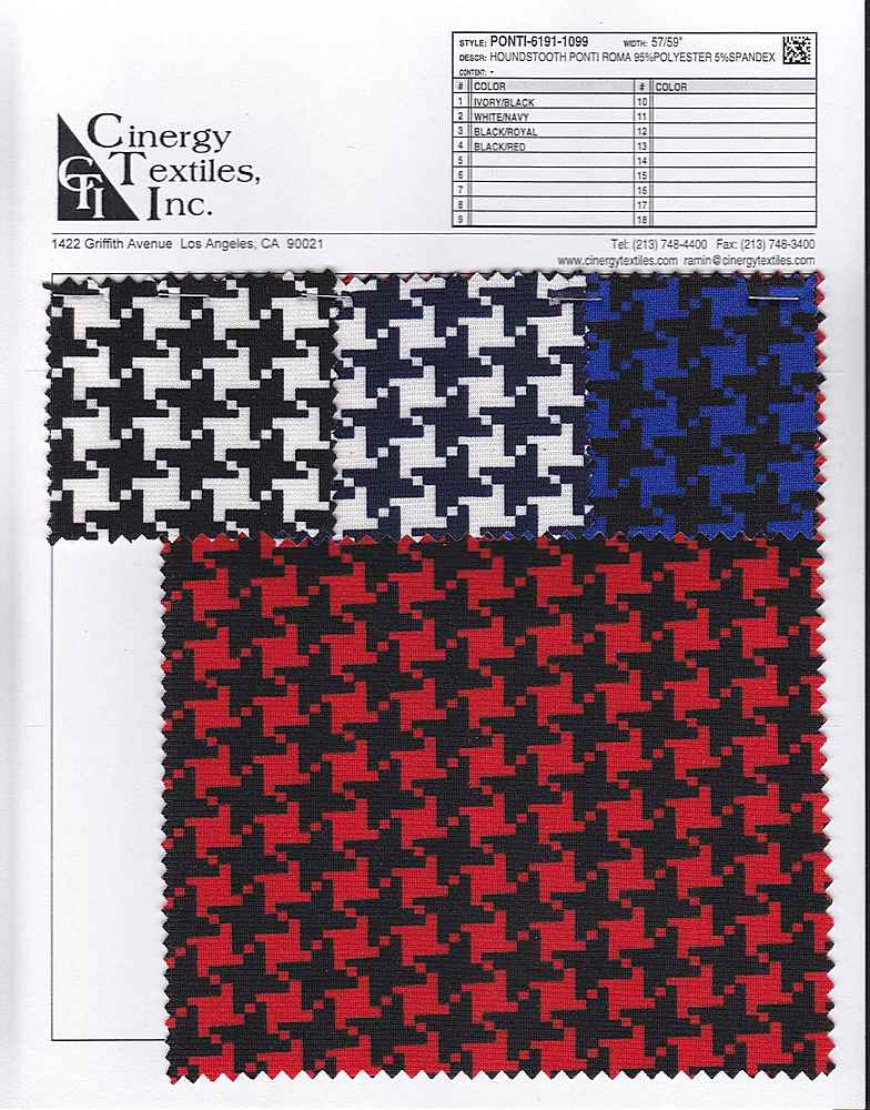 <h2>PONTI-6191-1099</h2> / FAMILY          / Houndstooth Ponti Roma 95%Polyester 5%Spandex