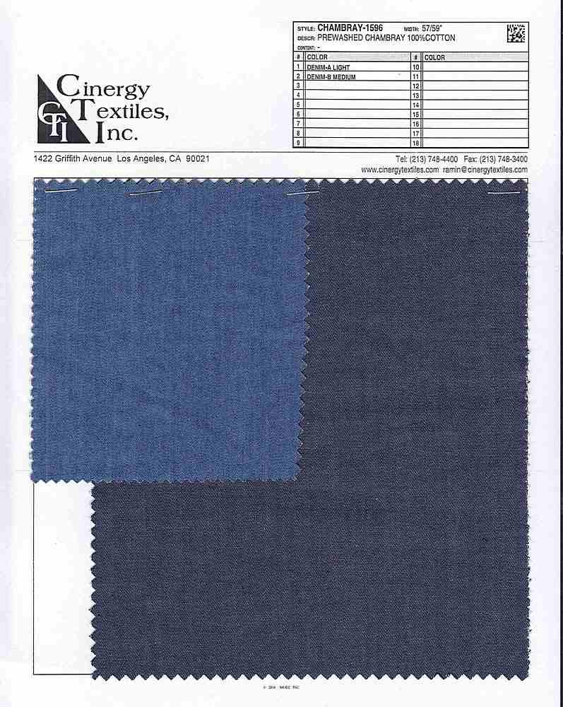 CHAMBRAY-1596 / Prewashed Chambray 100%Cotton